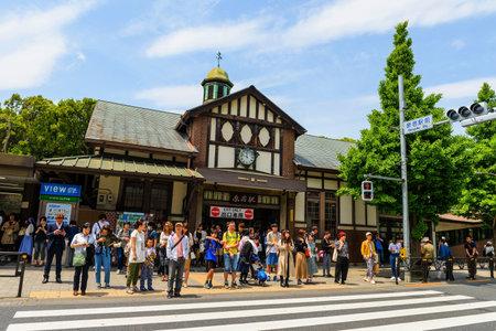 harajuku: TOKYO, JAPAN - MAY 7, 2017: Unidentified people at Harajuku station, operated by Japan Railway (JR) Company.