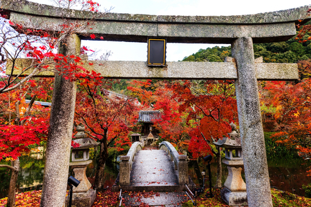 Eikando or Eikan-do Zenrinji Temple with fall colors at torii gate, Kyoto, Japan