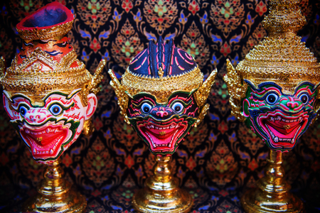 theatre masks: Hua Khon Thai Traditional Mask of Hamuman for model decoration