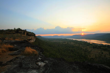 Sunrise at Pha Taem National Park, Ubon Ratchathani. Here is the first place to see Sunrise in Thailand. Stock Photo