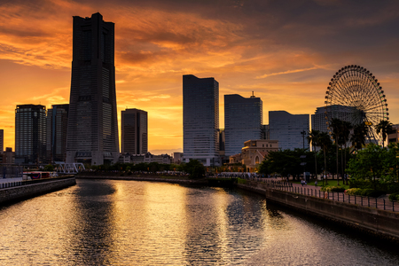 YOKOHAMA, JAPAN - MAY 6, 2017: Yokohama cityscape skyline at Minato Mirai waterfront district with twilight sky before sunset. Here is the most famous landmark in Yokohama. 報道画像