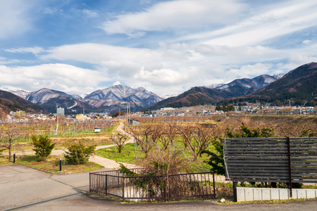 Apple orchard farm with central alps background in Yamanouchi, Nagano, Japan. Here is famous in monkey snow park, ski resort, and hot spring onsen. Stock fotó