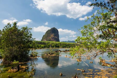 River swamp with blue sky and Limestone mountain background at Klong Rood, Krabi, Thailand. Famous travel destination to kayak and swim. Recreation activity in summer.