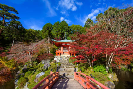 Daigoji bridge to pagoda temple in maple trees of autumn momiji season against blue sky, Kyoto, Japan. Fall travel destination landmark in Kansai. beautiful architecture natural landscape. Editorial