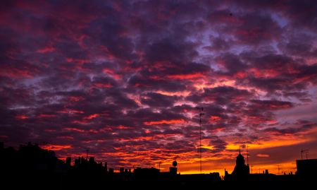 Sunset in Huesca Stock Photo