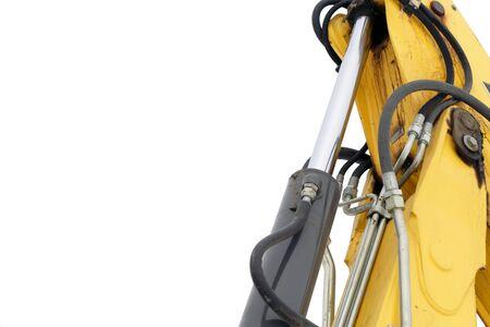 hose: Maquinaria excavadora hidr�ulica aislado en fondo blanco con un mont�n de espacio de copia