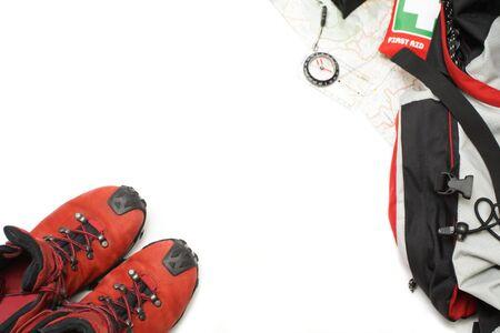 botiquin primeros auxilios: Zapatos de trekking y senderismo equipos con mapa, mochila, kit de primeros auxilios y br�jula