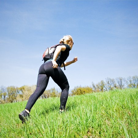 Woman on power walking workout outdoors photo