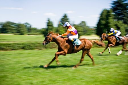 Horse racing, motion blurred photo