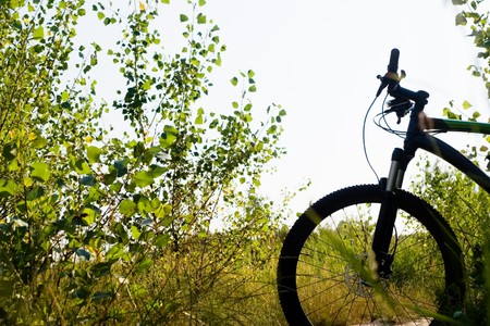 Mountain bike silhouette, ready for ride outdoors photo