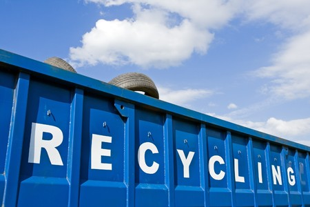 Tire recycling container over blue sky Stock Photo - 7712174
