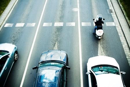 slow lane: Traffic jam on city street Stock Photo