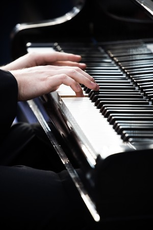 frederic chopin: Pianist playing piano in Wroclaw in memory of Frederic Chopin Stock Photo