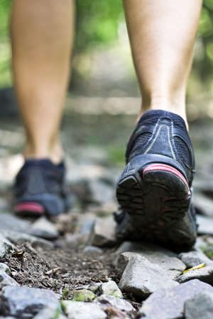 Sport shoes on trail walking in mountains Stock Photo - 8093734
