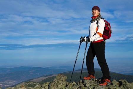 nordic walking: Nordic Walking in Autumn mountains