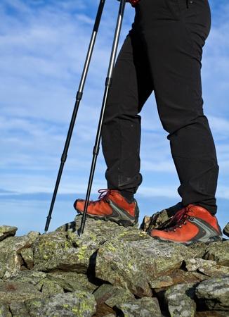 Nordic Walking in Autumn mountains photo