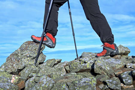 nordic walking: Nordic Walking in Autumn mountains