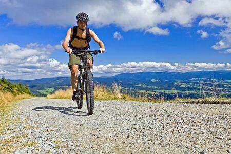 mountain biking: Mountain biking in summer mountains