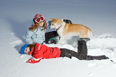 Two young women having fun in snow with akita dog photo