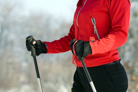 Nordic walking exercising photo