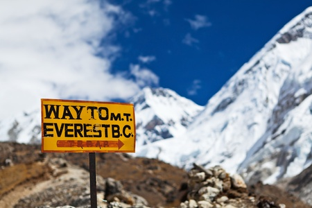 nepal: Way to Mt. Everest Base Camp signpost in Himalayas, Nepal