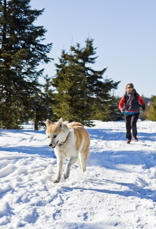Young woman running with akita dog in winter mountains photo