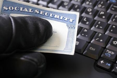 seguridad social: El robo de identidad y tarjeta de Seguro Social Foto de archivo
