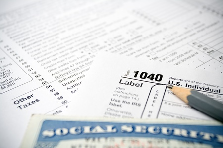 tax return: Social Security card on US 1040 tax forms