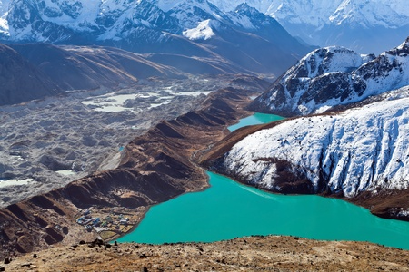 Gokyo lake in Himalaya mountains, Nepal. View from Gokyo Ri at 5300m above see level. photo