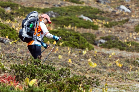 Young woman hiker hiking in Mount Everest National Park, Nepal Stock Photo