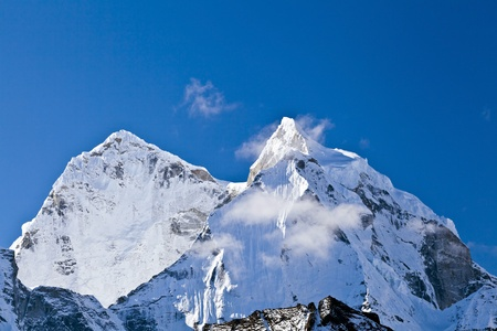 snowscape: Mount Ama Dablam in Himalaya Mountains, Nepal