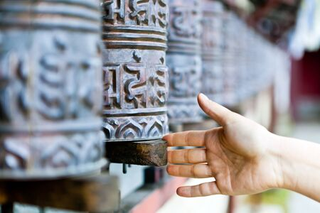 Prayer wheels in Thyangboche Monastery  Tengboche village in Khumjung in the Khumbu region in Nepal, located at 3867 metres  12687 ft   photo