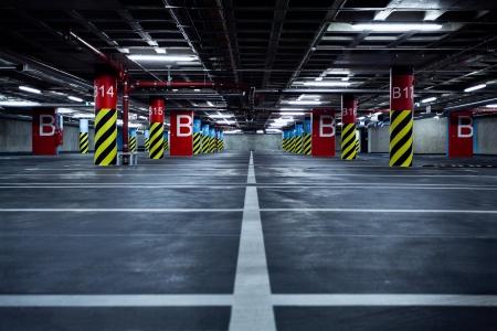 parking lot interior: Empty parking garage, underground interior