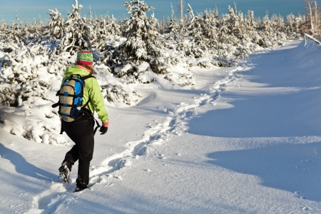 lonliness: Woman hiking on snow in winter mountains Stock Photo