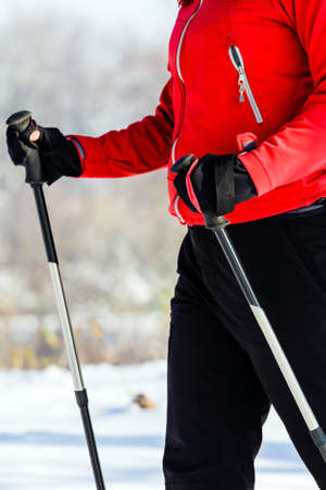 Nordic walking and exercising in winter nature. Outdoor sport and fitness, healthy lifestyle photo