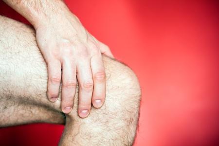 part of body: Running knee injury, runner leg pain, sore and exercising Stock Photo