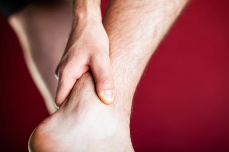 leg calf injury: Running physical injury, leg pain  Runner sore body after exercising