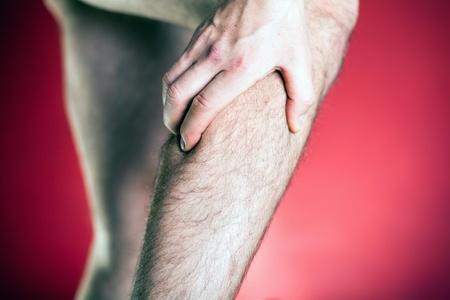leg calf injury: Running physical injury, leg calf pain. Runner sore body after exercising.