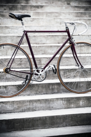 City bicycle fixed gear and concrete stairs photo