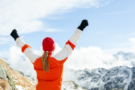 hiker: Hiking woman and success in mountains, arms outstretched Stock Photo