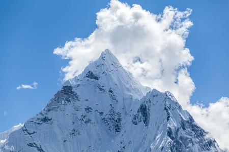 himalaya: Mount Ama Dablam in Himalaya Mountains, Nepal. Beautiful Himalayan landscape on sunny autumn day.