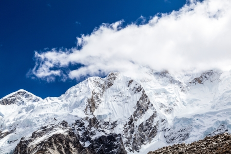 himalayas: Himalaya beautiful mountain peaks autumn landscape and Khumbu glacier on the way to Everest Base Camp. Nuptse face  in Everest National Park.