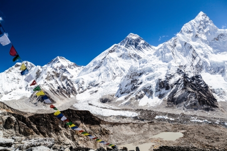 icefall: Mount Everest and Himalayas beautiful mountain peaks autumn landscape and Khumbu glacier with Everest Base Camp. Changtse 7543m, Mt Everest 8859m, Nuptse 7861m in Everest National Park.