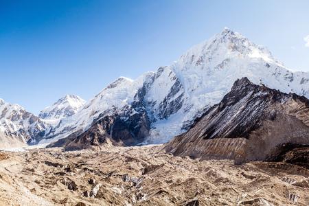 himalaya: Mountains Lhotse and Nuptse, Khumbu glacier in Everest National Park, Himalayas. Beautiful valley view, Nepal.