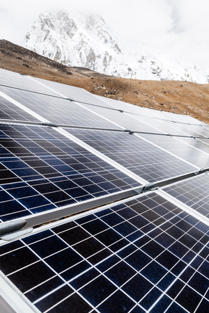 photovoltaic power station: Solar Power Station sustainable resources in Himalaya Mountains, Nepal. Technology and electronics outdoors in nature. Stock Photo