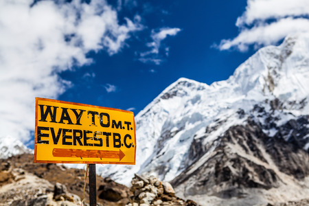 icefall: Mountains landscape and sign Way to Mt  Everest Base Camp signpost in Himalayas, Nepal