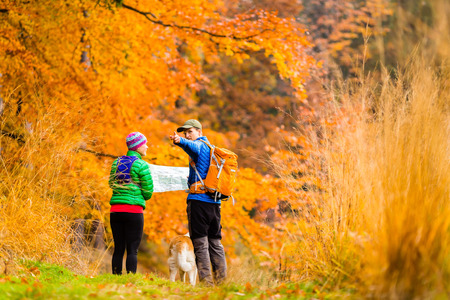 Man and woman hikers hiking in autumn colorful forest with akita dog. Young couple looking at map and planning trip or get lost. photo