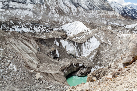 Himalayas Khumbu glacier lake. Melting ice on glaciers climate change global warming, ecology concept. Mountains rocky footpath autumn landscape on the way to Mount Everest Base Camp in Everest National Park.