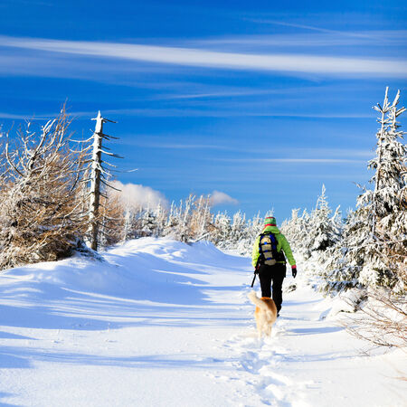 winter girl: Woman hiking in winter mountains with akita dog, trekking in beautiful white nature on powder snow, blue clear sky.