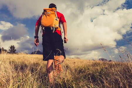 rucksack ': Hiking man, backpacker, climber or trail runner in mountains looking at beautiful inspirational landscape view. Fitness and healthy lifestyle outdoors in summer nature.